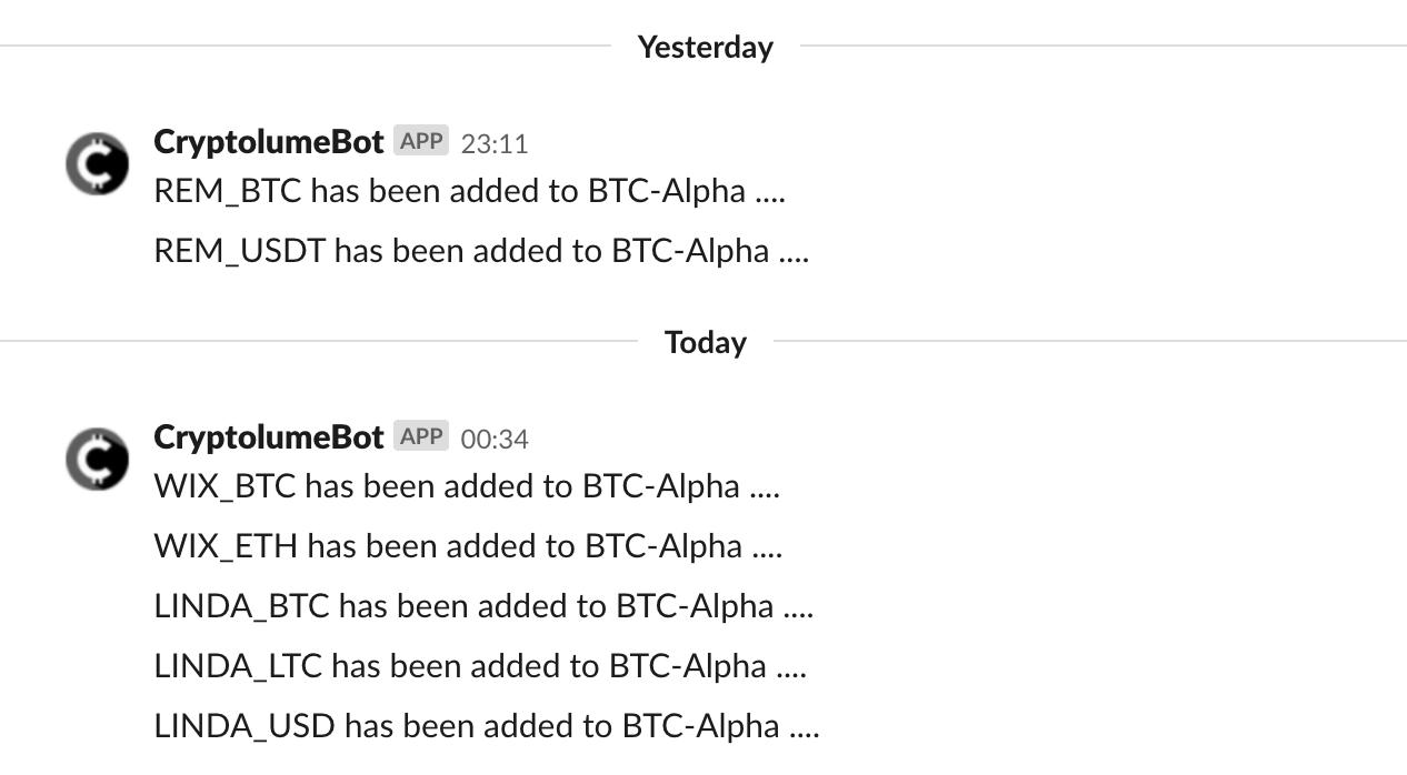 new coin addition alerts binance
